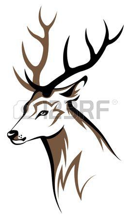 270x450 Stylized Deer Head Tribal Emblem Illustration For Your Design