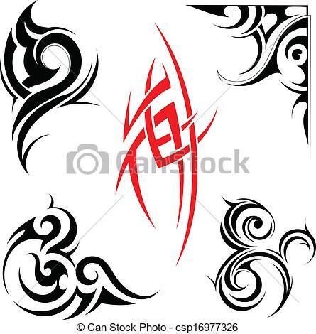 445x470 Tribal Art Set. Vector Illustration With Set Of Tribal Art