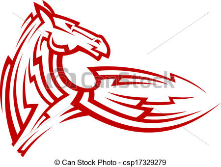 450x340 Red Tribal Mustang Horse Tattoo. Red Tribal Mustang Horse