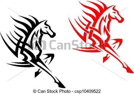 450x317 Tribal Mustang Stallion For Mascot Or Tattoo Design Vector