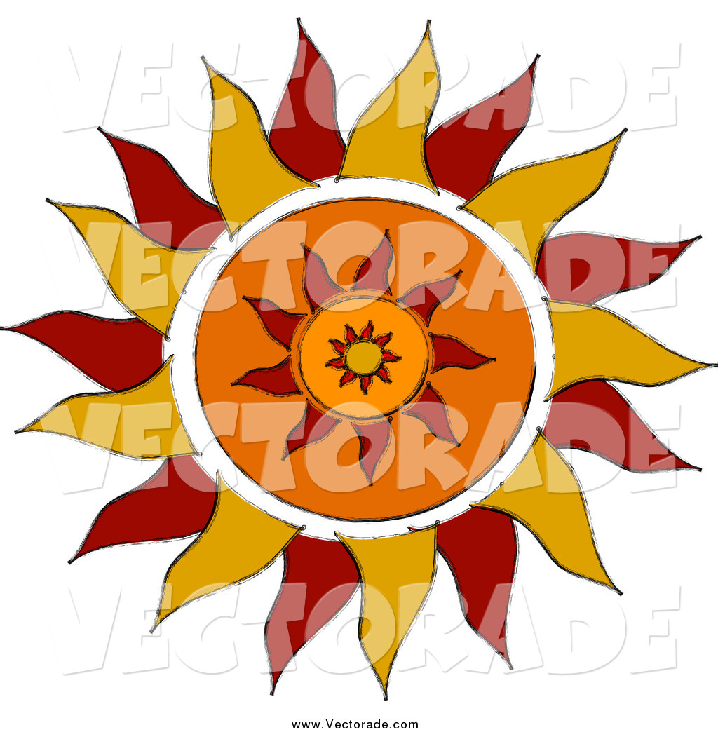 1024x1044 Vector Of A Red And Orange Tribal Sun By Pams Clipart