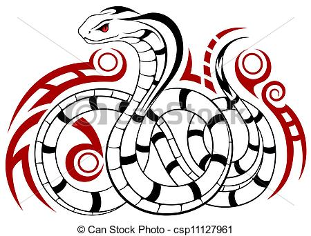450x342 Vector Snake, Tribal Tattoo. Vector Snake, Cobra In The Form