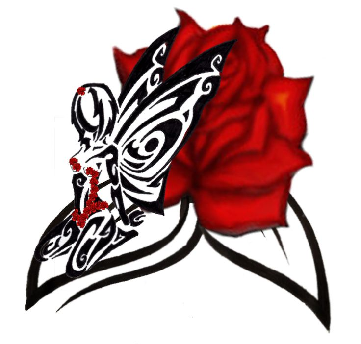 736x702 Collection Of Free Red Rose Tribal Tattoo Design
