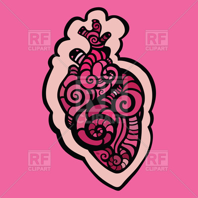 400x400 Decorative Heart Covered With Curly Tribal Pattern Royalty Free
