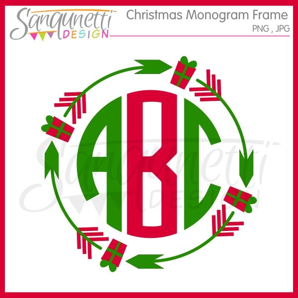 600x600 Sanqunetti Design Christmas Tribal Monogram Frame Clipart