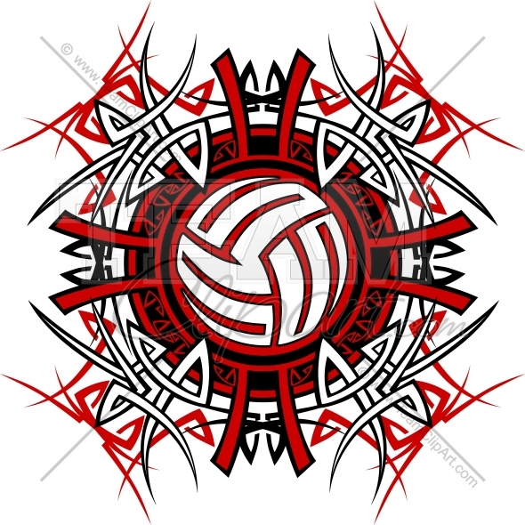 590x590 Tribal Volleyball Design Clipart Image.