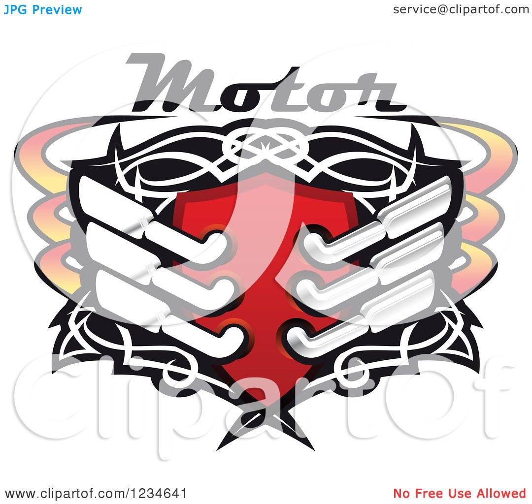 1080x1024 Clipart Of A Motor Text Over A Red Shield With Tribal Designs