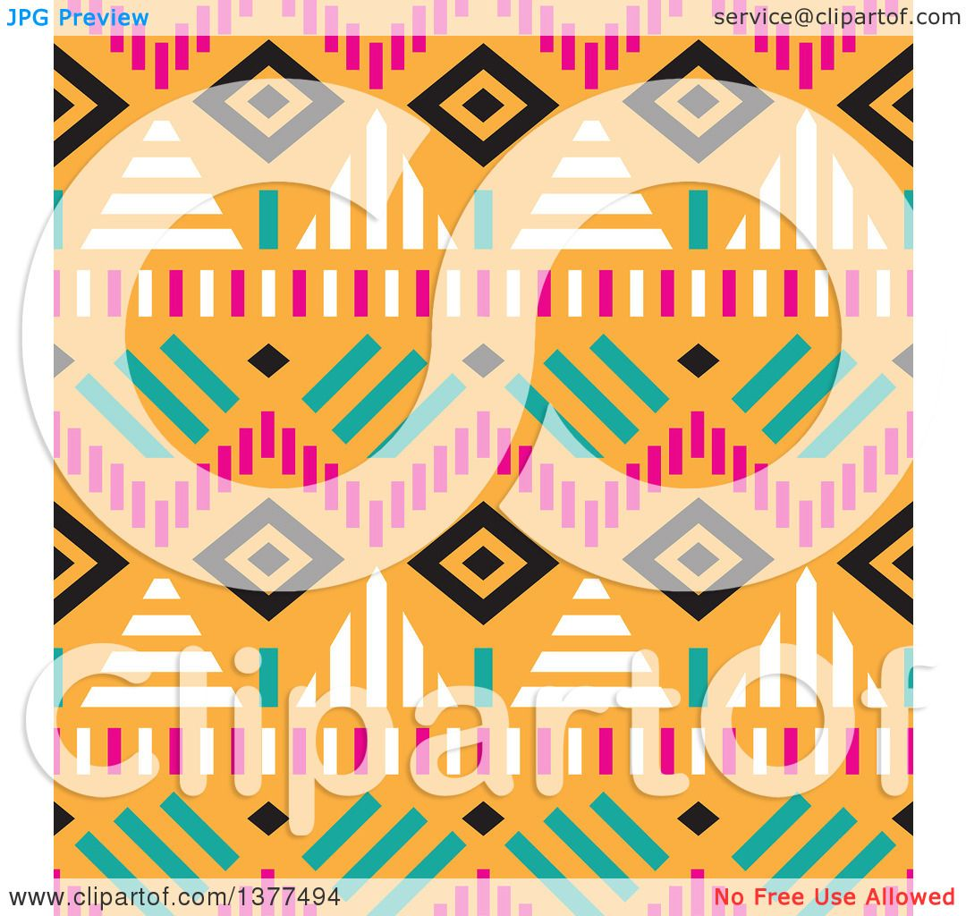 1080x1024 Clipart Of A Seamless Tribal Background Pattern Over Orange