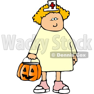 400x400 Girl Wearing Halloween Nurse Costume While Trick Or Treating