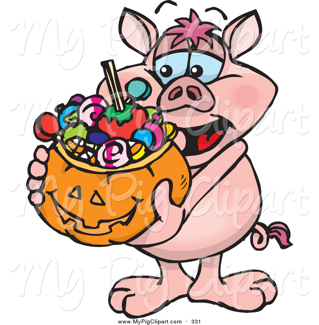 1024x1044 Swine Clipart Of A Happy Trick Or Treating Pig Holding A Pumpkin