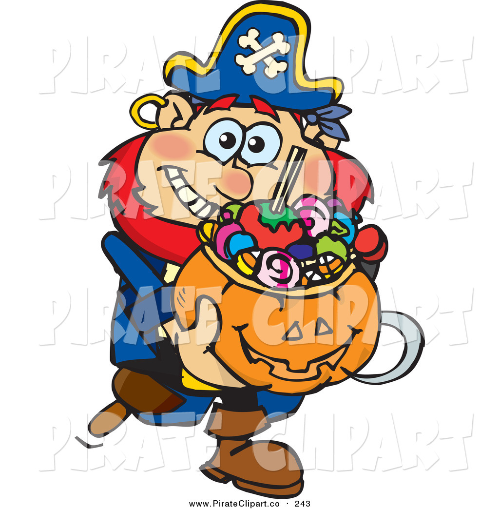 1024x1044 Vector Cliprt Of Happy Trick Or Treating Pirate Holding