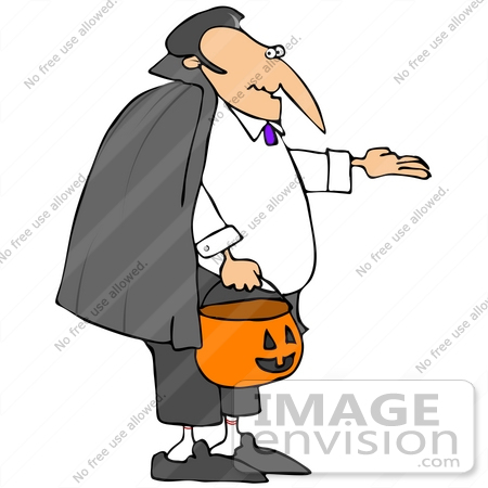 450x450 Clip Art Graphic Of A Middle Aged Man Dressed As Dracula, Trick