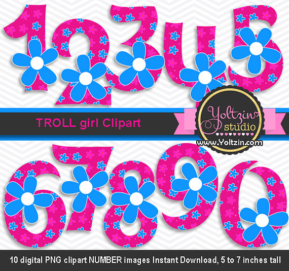 570x534 Trolls Clipart Poppy Numbers Hot Pink Blue Flower Girl Age