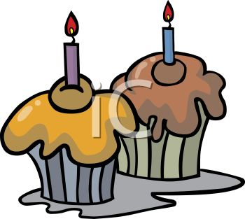 350x313 Picture Of A Chocolate And A Vanilla Cupcake With Burning Candles