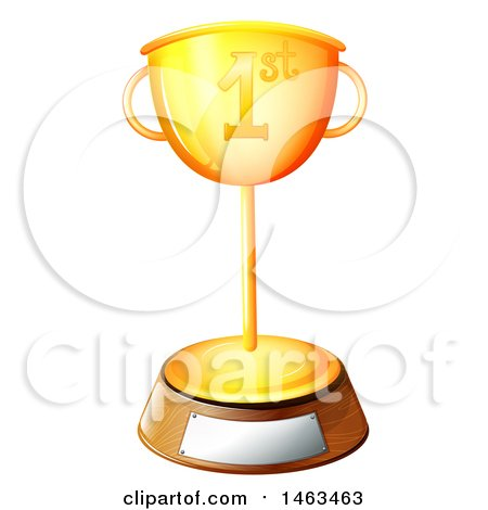 450x470 Clipart Of A Gold Trophy Cup With Checkered Racing Flags And