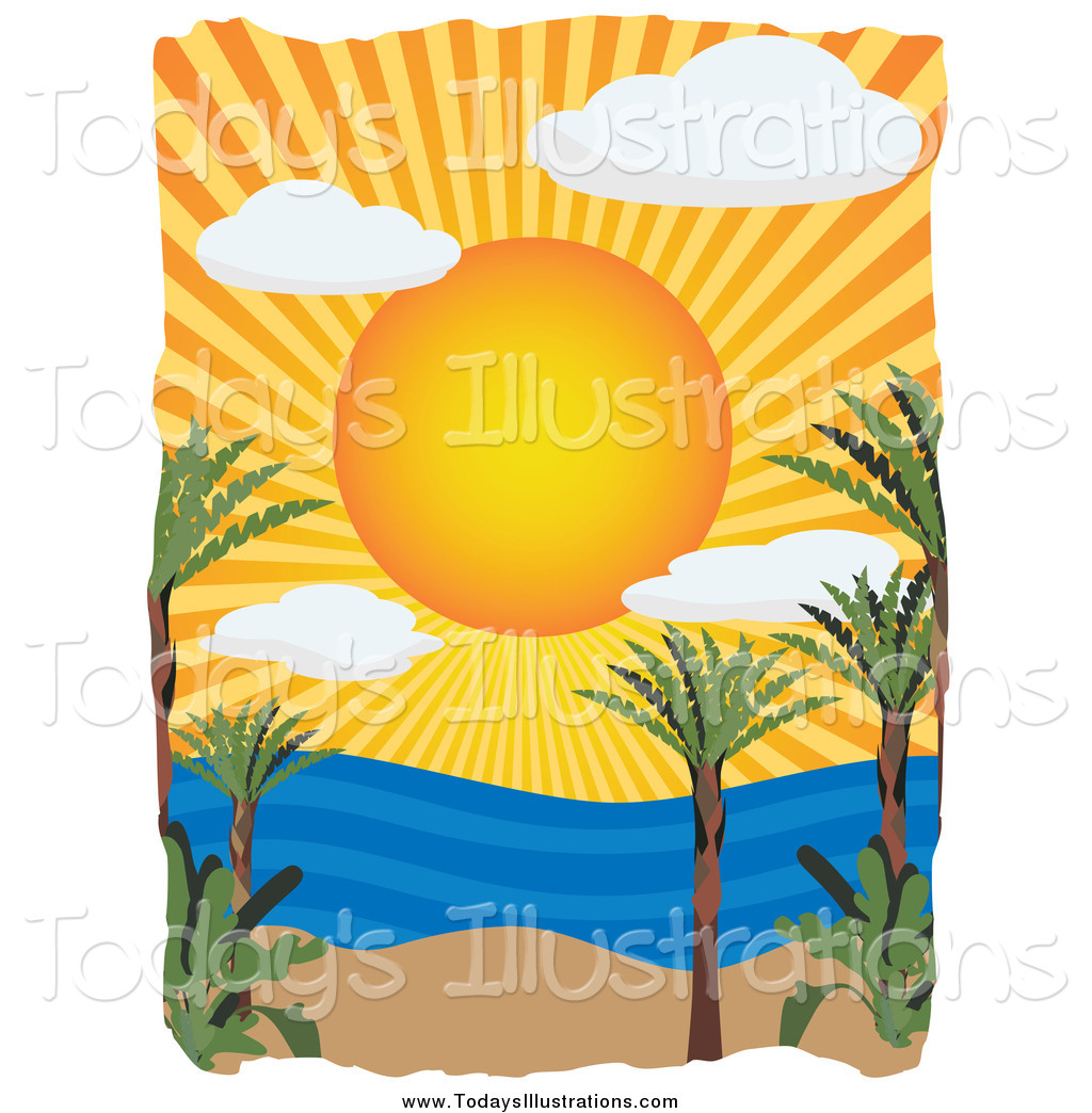 1024x1044 Clipart Of A Sun Setting Over A Tropical Beach And Ocean By Mheld