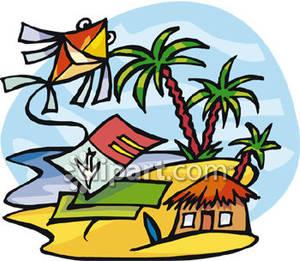 300x261 Elaborate Kite Flying Over A Hut On A Tropical Beach