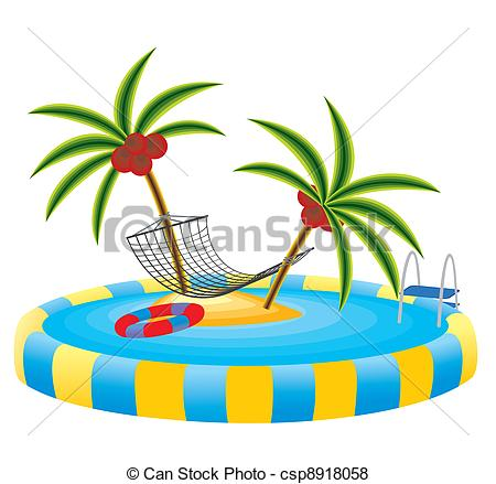 450x439 Outdoor Pool And Tropical Island. Outdoor Pool In The Garden