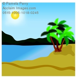 297x300 Clip Art Image Of A Lagoon On A Tropical Beach