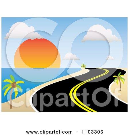 450x470 Clipart Curvy Coastal Road Along A Tropical Beach At Sunset