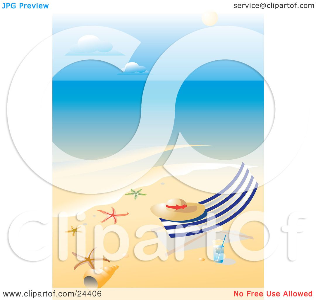 1080x1024 Clipart Illustration Of Straw Hat Resting On Lounge Chair On