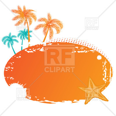 400x400 Summer Tropical Banner With Palm Tree Silhouettes Royalty Free