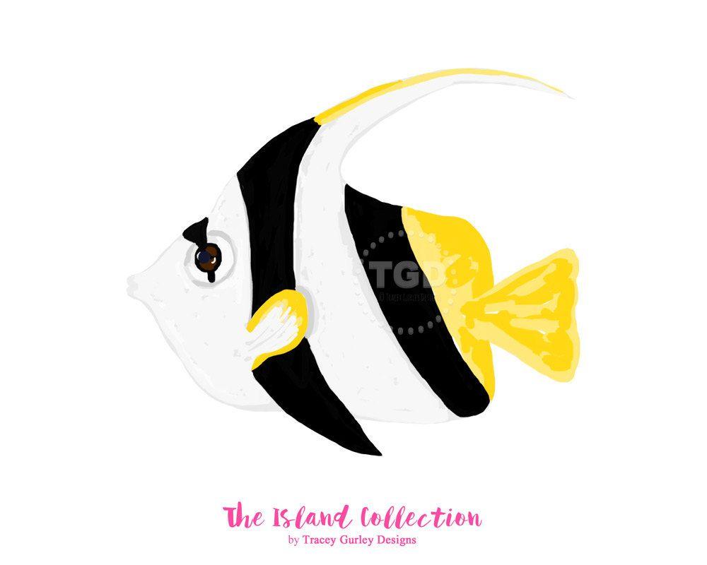 1000x800 Angel Fish Clipart, Tropical Clip Art, Preppy Clipart, Tropical