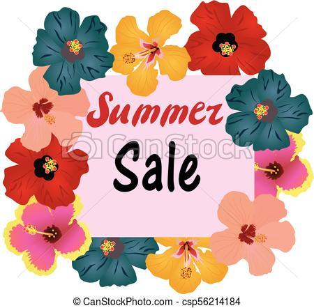 450x442 Vector Summer Sale Tropical Flowers Frame Vector