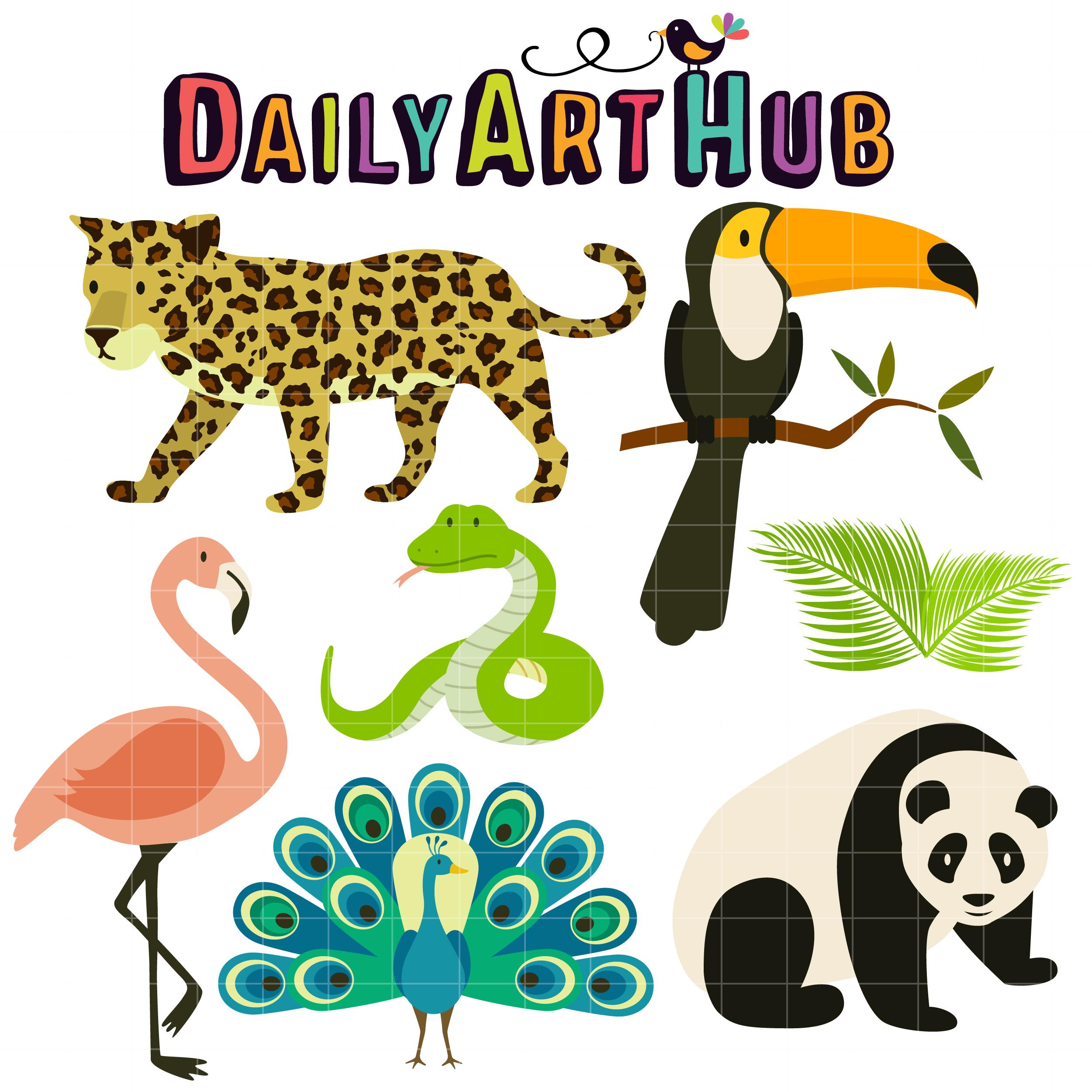 2500x2500 Tropical Rainforest Animals Clip Art Set Daily Art Hub Free
