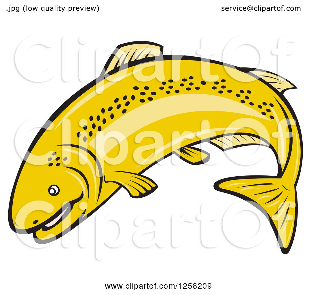 1080x1024 Clipart Of A Cartoon Rainbow Trout Fish Jumping