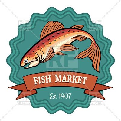400x400 Fish Market Badge Or Emblem Royalty Free Vector Clip Art Image