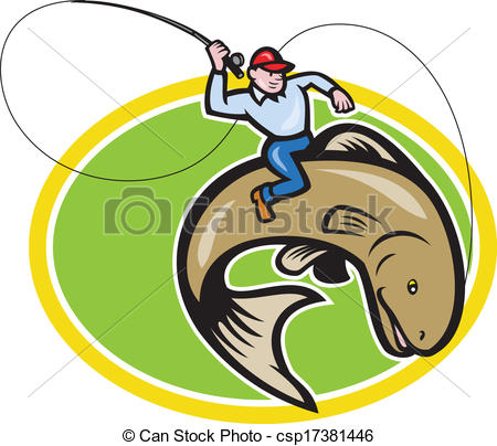 450x404 Fly Fisherman Riding Trout Fish Cartoon. Illustration Of A Eps