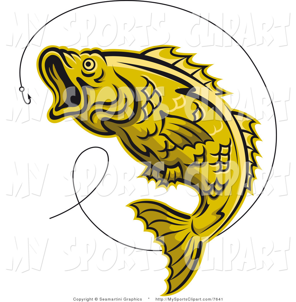 1024x1044 Sports Clip Art Of A Yellow Trout And Hook By Vector Tradition Sm