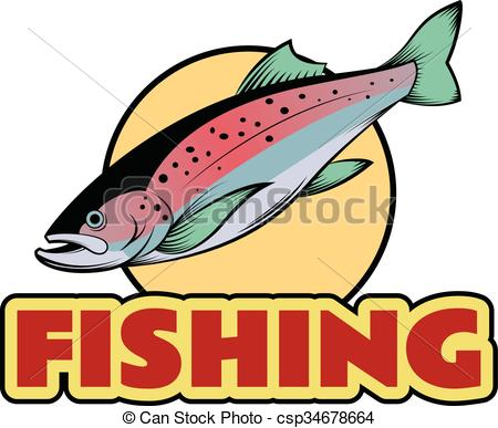 450x387 Trout Fishing Banner. Vector Image Of A Colourful Line Trout