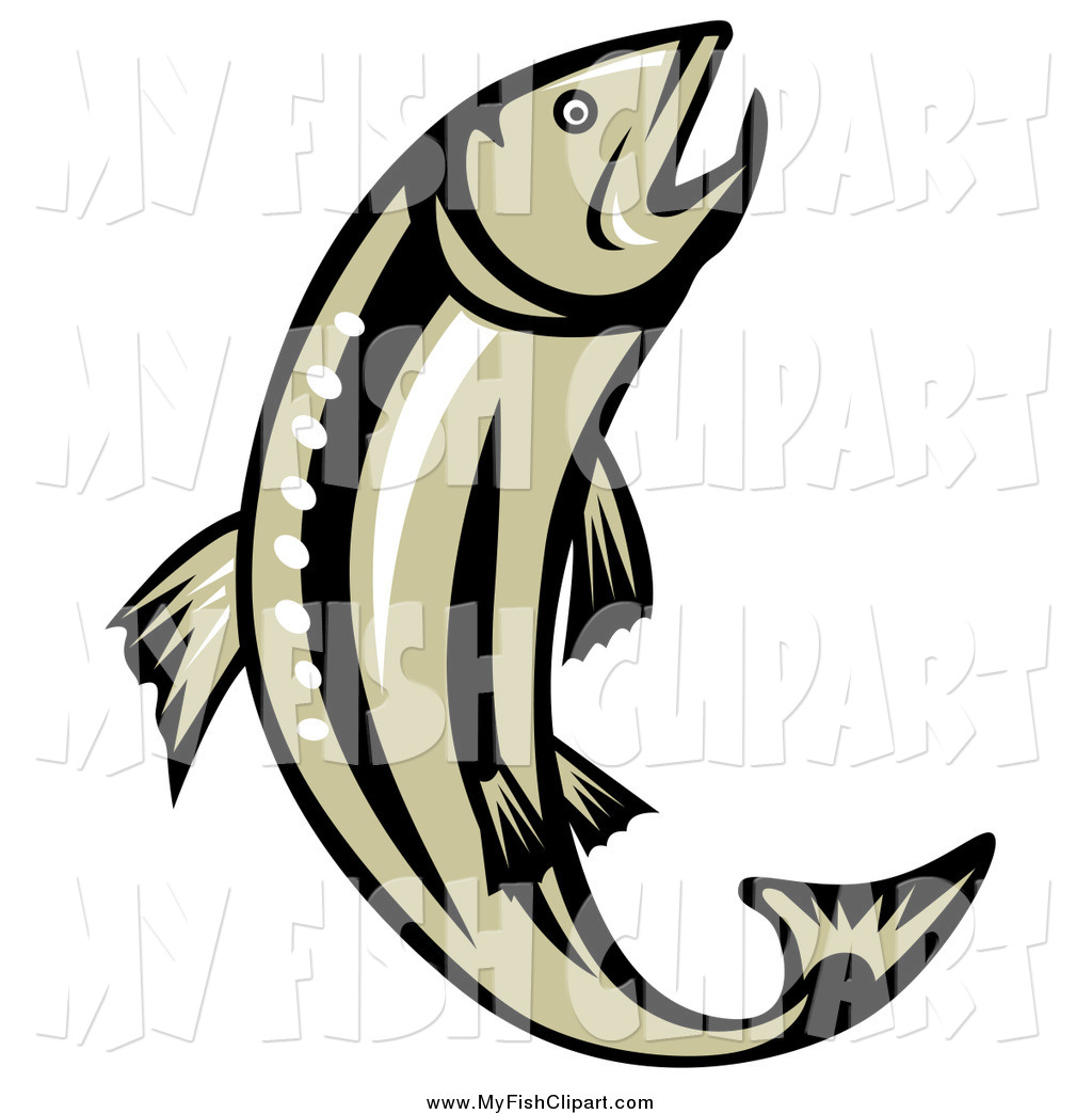 1024x1044 Clip Art Of A Brown And Black Leaping Trout By Patrimonio