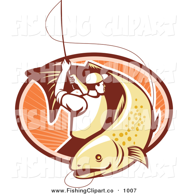 600x620 Clip Art Of A Retro Trout Fisher Man Reeling In A Fish Over
