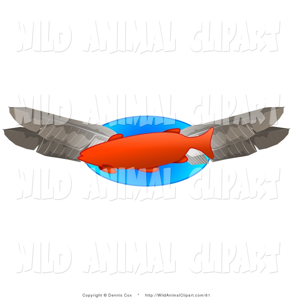 1024x1044 Clip Art Of An Orange Trout Fish Swimming With Feathers By Djart