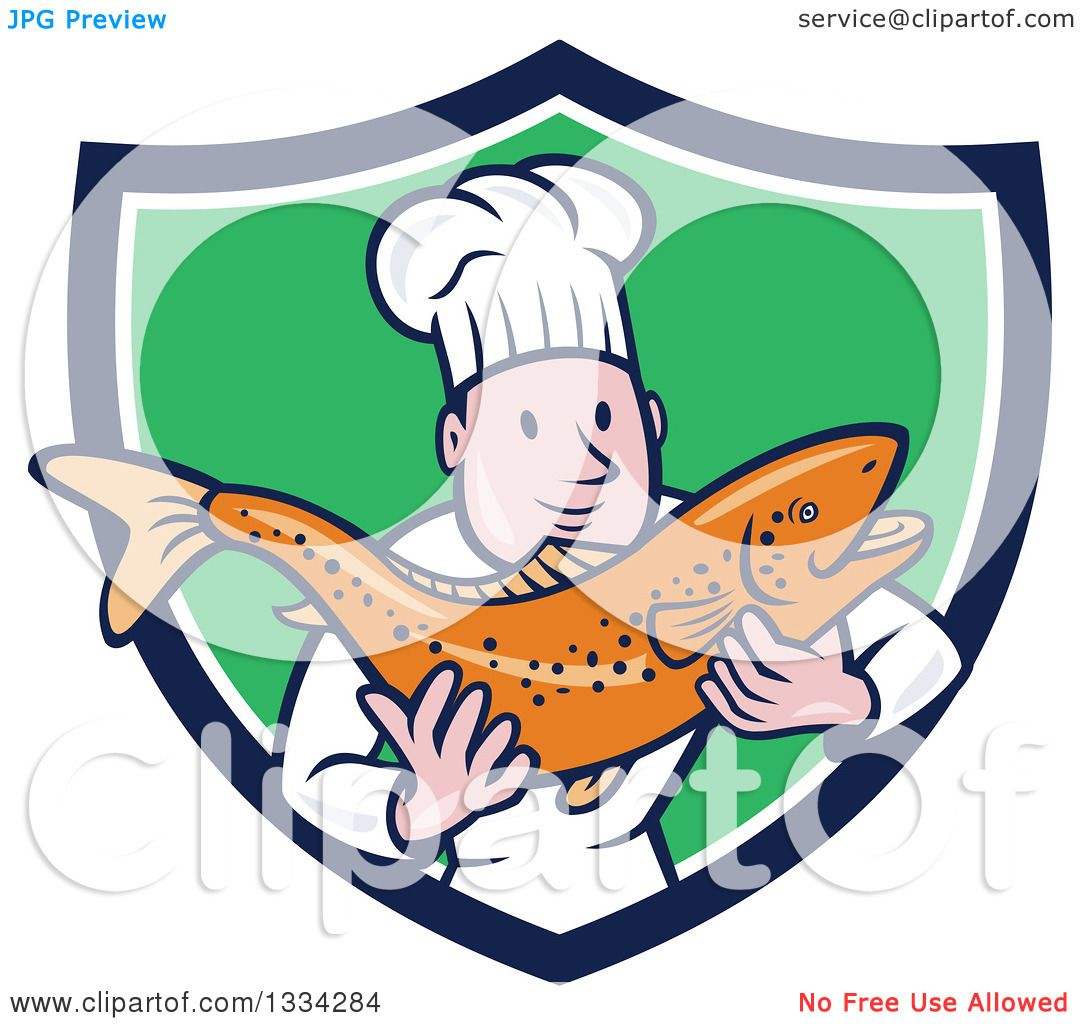 1080x1024 Clipart Of A Cartoon Caucasian Male Chef Holding A Fresh Trout