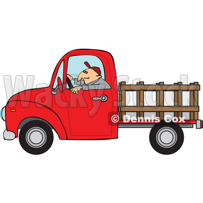 400x400 Clipart Of Cartoon White Man Driving Red Pickup Truck