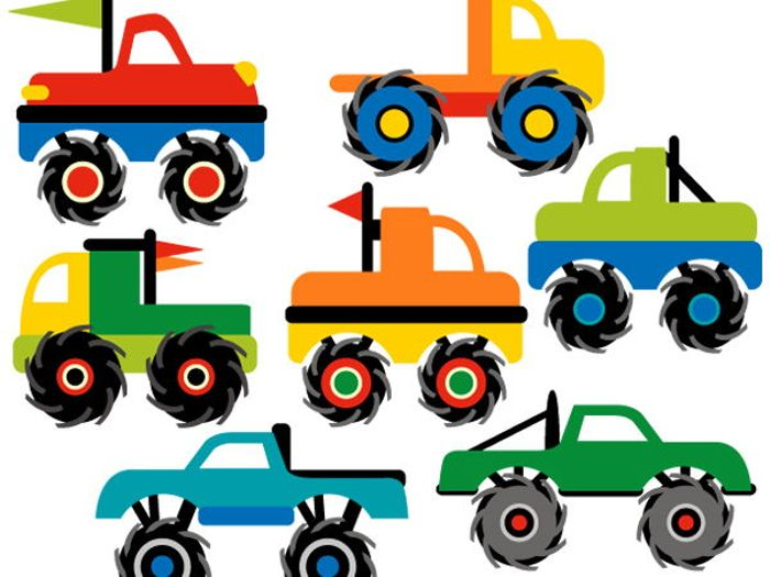 700x525 Monster Truck Collection Clip Art Bundle By Revidevi