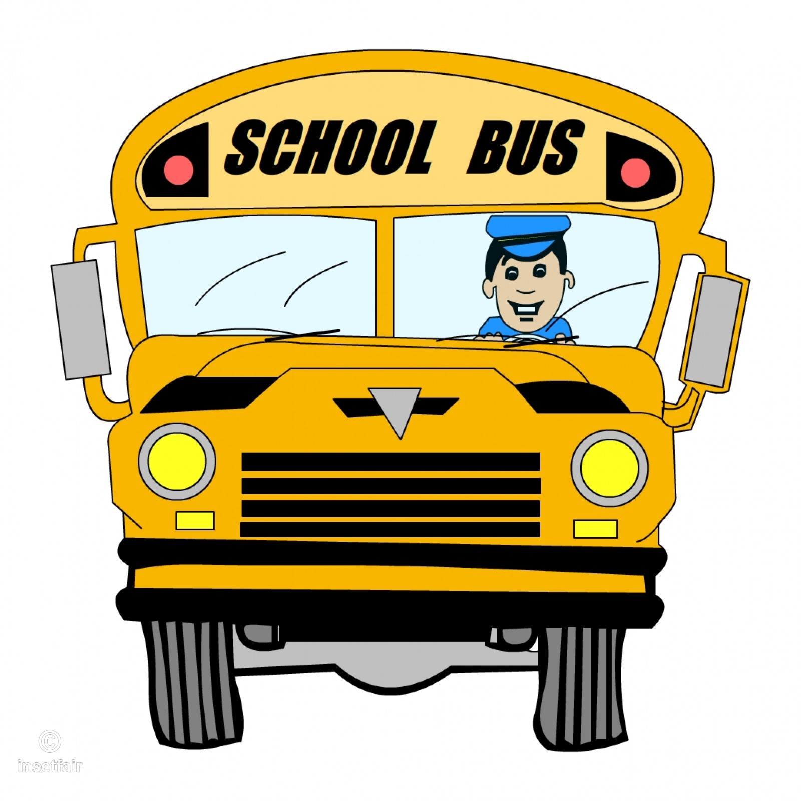 1600x1600 Cartoon School Bus With Driver Clipart Png Image