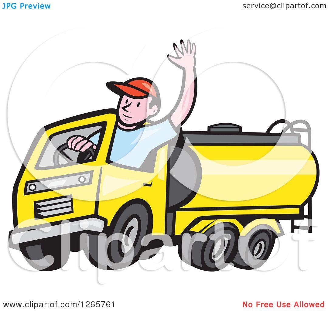 1080x1024 Clipart Of A Cartoon White Male Tanker Truck Driver Waving