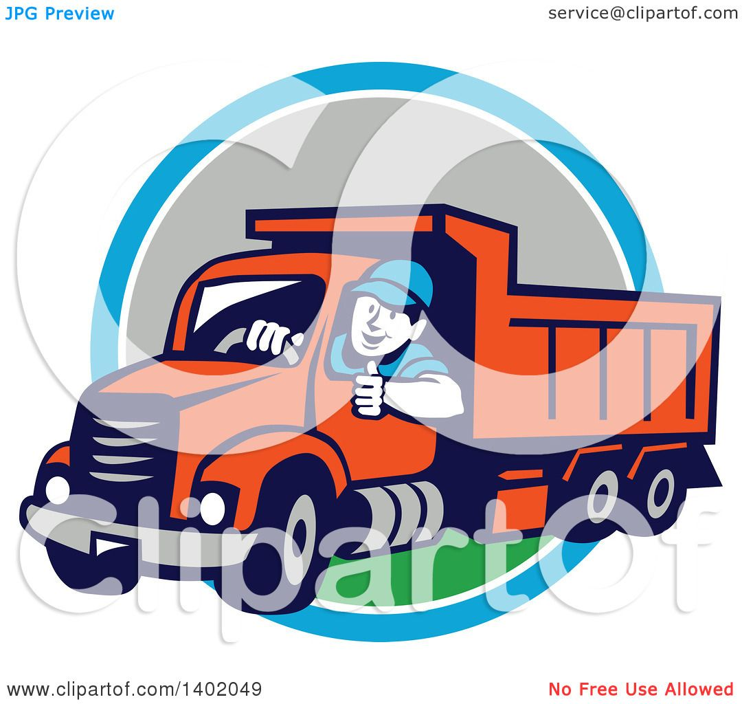 1080x1024 Clipart Of Retro Male Dump Truck Driver Giving Thumb Up Over
