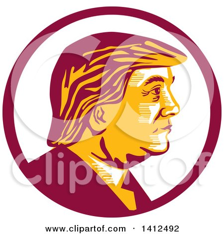 450x470 Clipart Of Cartoon Caricature Of Donald Trump Holding Up