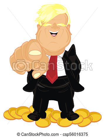 358x470 President America. Donald Trump With Many Yellow Cents