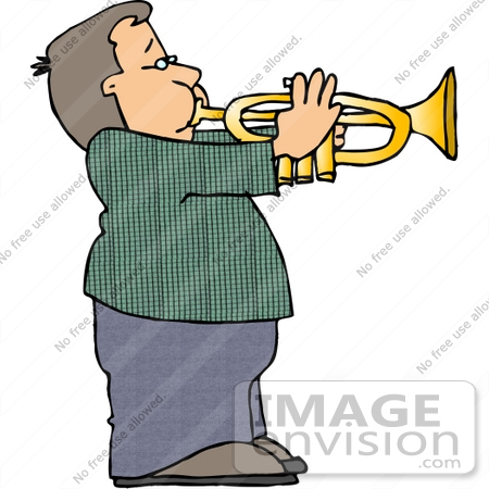 450x450 Caucasian Boy Playing A Trumpet Clipart