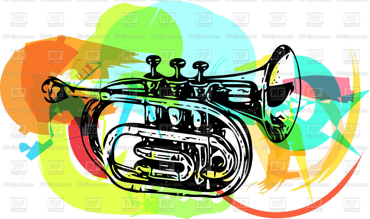 1200x710 Colorful Trumpet Illustration On Abstract Background Royalty Free