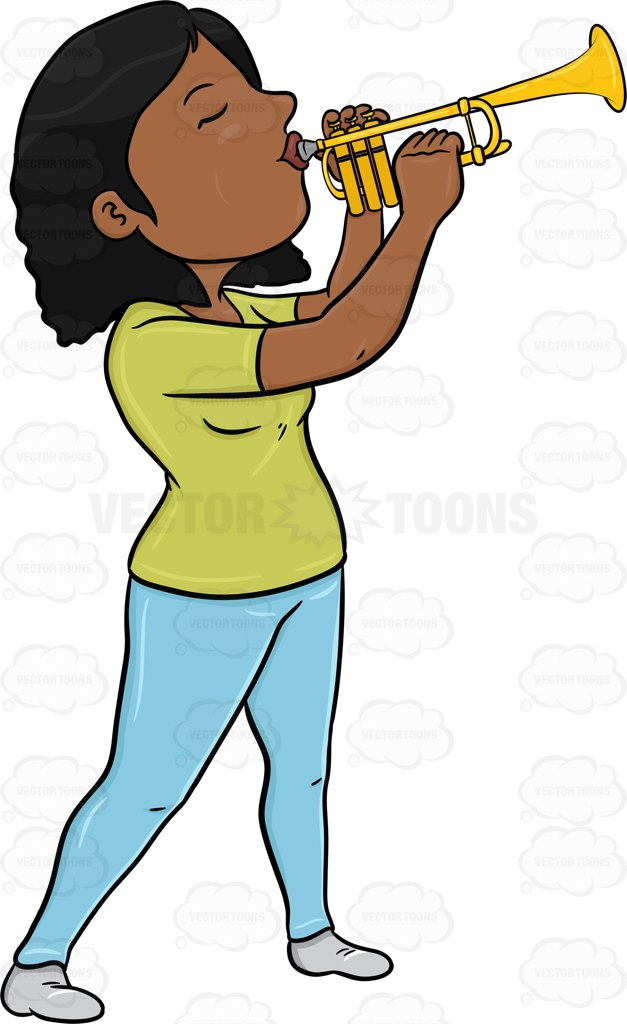 627x1024 A Black Woman Blowing Into A Trumpet Cartoon Clipart Vector Toons