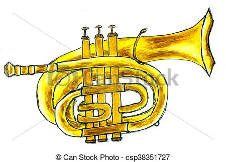 450x322 Trumpet Simple Sketch. Cartoon Trumpet In Simple Sketch Clip