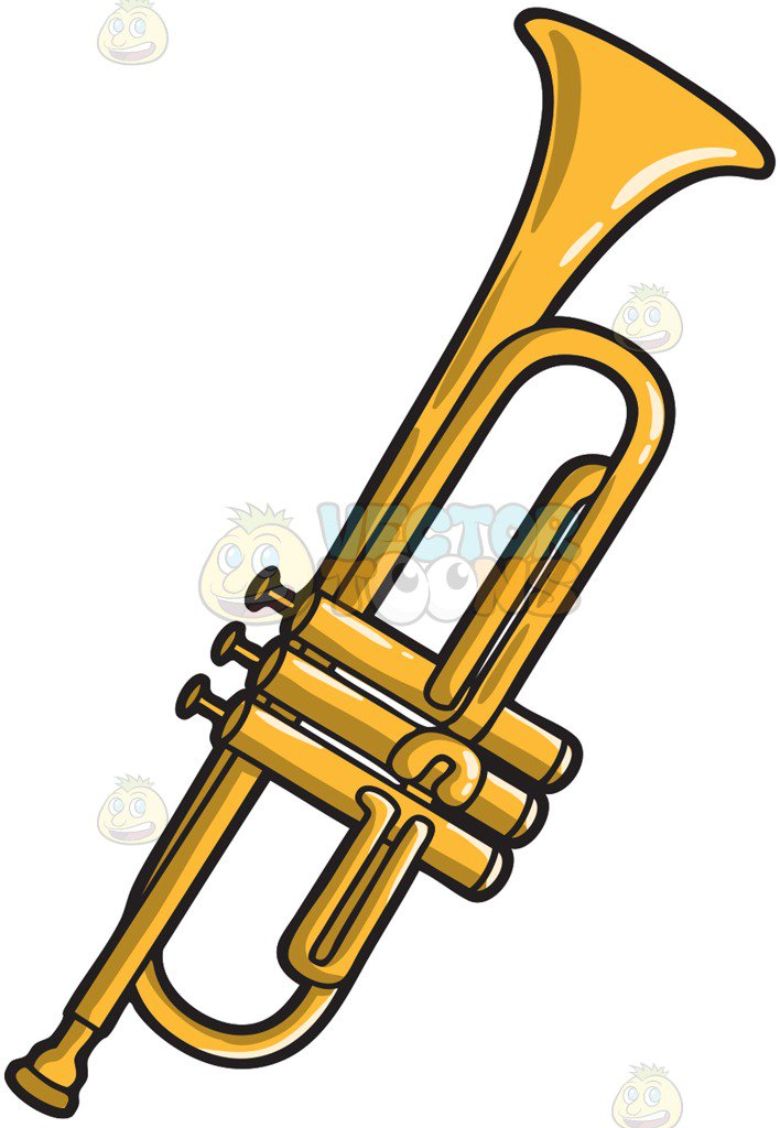 708x1024 A Musical Instrument Called The Trumpet Cartoon Clipart Vector Toons